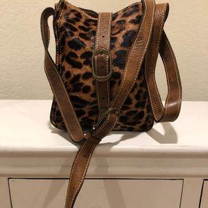 Leopard/ leather cross body bag